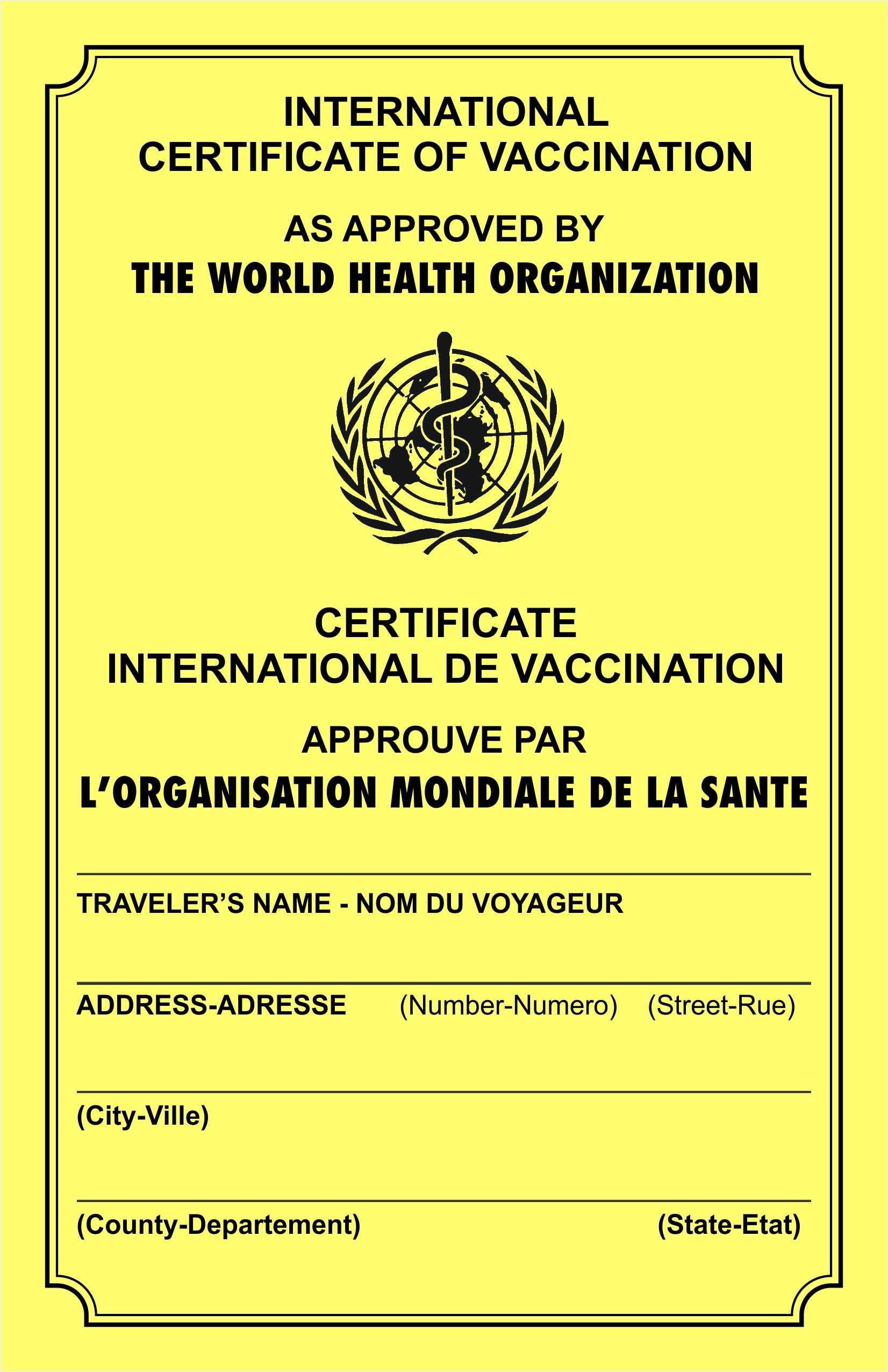 Yellow Card International Certificate Of Vaccination
